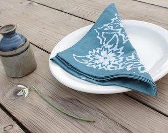 slate blue batik lunch napkins