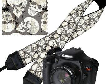 Skulls Camera Strap Dslr Goth Steampunk Slr Digital Camera Padded Strap Nikon Canon etc black white gray RTS