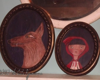the Big Bad Wolf Folk Art Fairytale Portrait in oval Frame OOAK