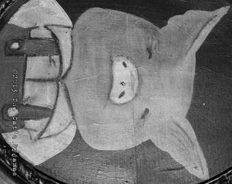 Three Little Pigs  Folk Art Fairytale Portrait in oval Frame OOAK Pig in Overalls