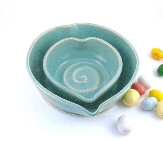 Small Aqua Blue Heart Trinket Dish, Wedding Gift, Ceramics and Pottery Bowls, Ring Bowl, Bridesmaid Gift, Jewelry Holder Mother's Day Gift