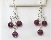 NOW 50% OFF Amethyst Earrings Sterling Silver Purple Wire Wrapped