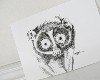 Small Art, Lemur Drawing, Original Ink Drawing,  Nature Art, Black and White Animal Drawing, Lemur Illustration, Animal Illustration, 5 x 7
