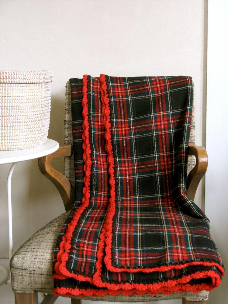Wool Throw Blanket Stewart Tartan Classic Plaid Red Black