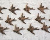 Brass Bird charms - set of 13