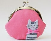 Cat coin purse gray tabby kitty on coral pink