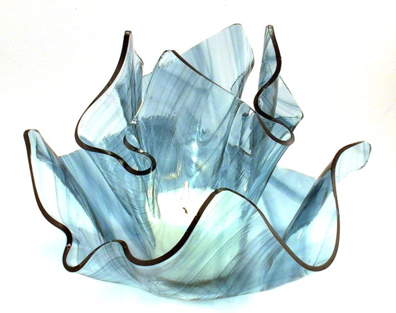 Vase Candle - Steel Blue on Clear Baroque Draped Glass Vase & Dish