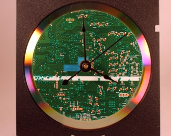 Computer Circuit Board Desk Clock (Dark Green)