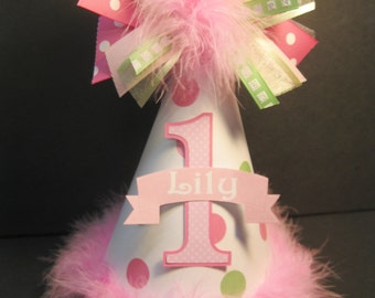 Personalized Pink and Mint green Polka Dot  Birthday Party Hat