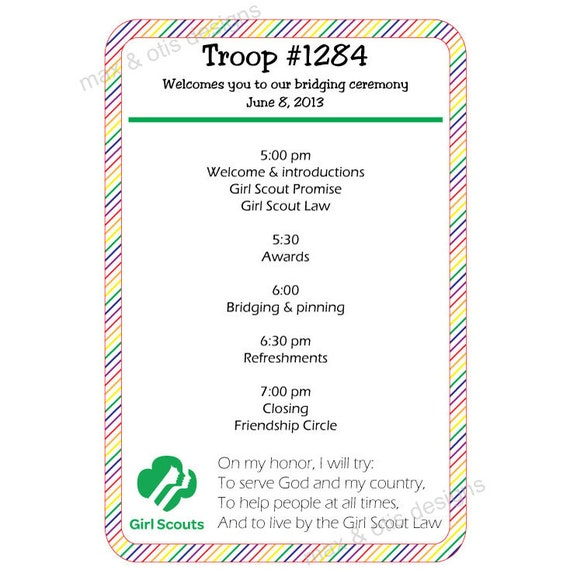 Girl Scout Bridging Ceremony Program Rainbow border by ...