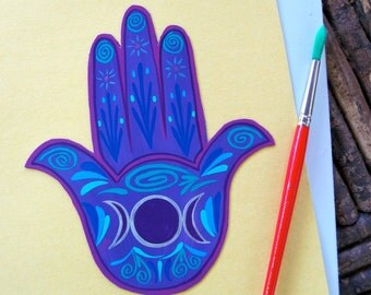 Hamsa Hand Magnet, Made to Order, triple moon, Goddess  protection, healing, abundance ,