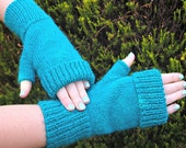 Fingerless Mitts - rich jade