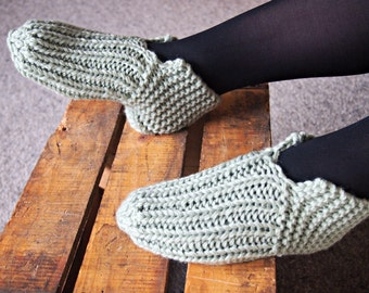 Slipper Socks sage green 38 - ready to ship