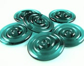 Dark Teal Lampwork Glass Disc Beads Set of 6
