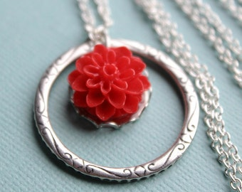 Red Flower Necklace - Silver