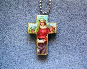 St. Ann Wood Catholic Crucifix Necklace Patron Mothers, Women in Labor A2