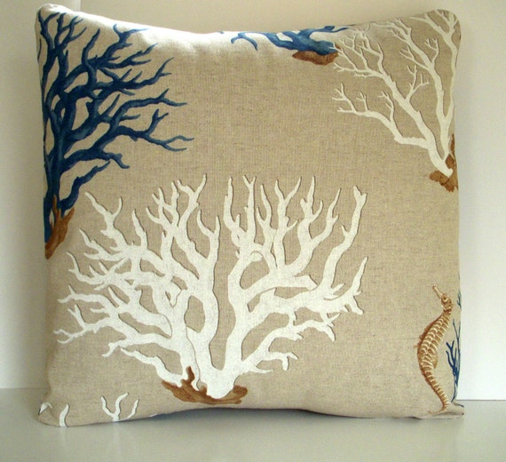 Blue Coral Throw Pillow : Decorative Pillow Cover Blue Mediterranean Ocean Coral Print