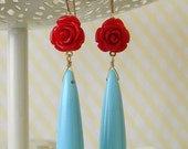 15% OFF SALE Red Rose Aqua Drop Earrings - divinerose