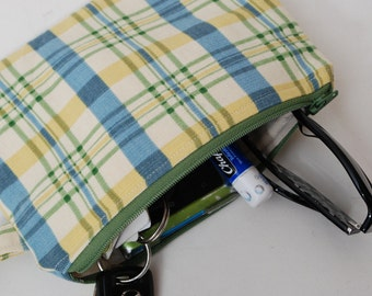Zippered  Blue Yellow and Green Plaid Cotton Fabric Wristlet