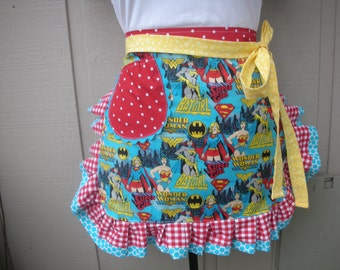 Super Women Aprons - Wonder Woman - Bat Girl - Super Girl Half Apron - Superwomen Hero Apron - Annies Attic Aprons