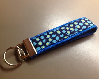 Island Girl Bags - blue and aqua print key fob