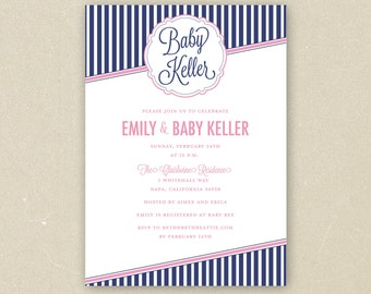 Baby Boy or Girl Custom Baby Shower Invitations Printable - Preppy Striped