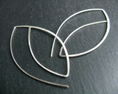 Stylised Geometric Leaf earrings , large modern earrings, thread through minimalist tribal inspired, hammered 925 silver