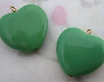 6 pcs. glass green heart charms 21x18mm - f2800