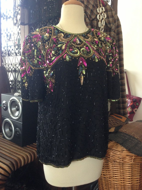 Vintage Black Multi colored Sequin Top - cocktail party - Trophy Festival Top - Large - Size 10-12