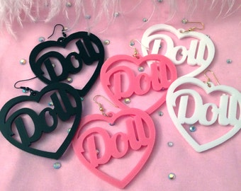Black, White or Candy Pink Acrylic Doll Earrings