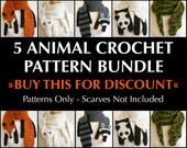 Digital PDF Crochet Pattern Bundle - 5 Crochet Patterns for Animal Scarves - DIY Fashion Tutorial - Instant Download - ENGLISH only
