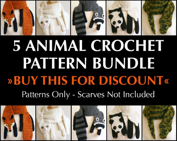 Digital PDF Crochet Pattern Bundle - 5 Crochet Patterns for Animal Scarves - DIY Fashion Tutorial - Instant Download - ENGLISH only