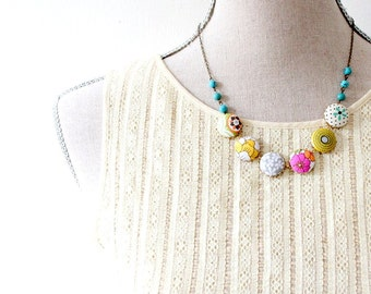 Colorful Textile and Turquoise Statement Necklace