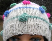 Hand Knit Alpaca Hat with Bobbles - Beanie / Cap for Women or Teens