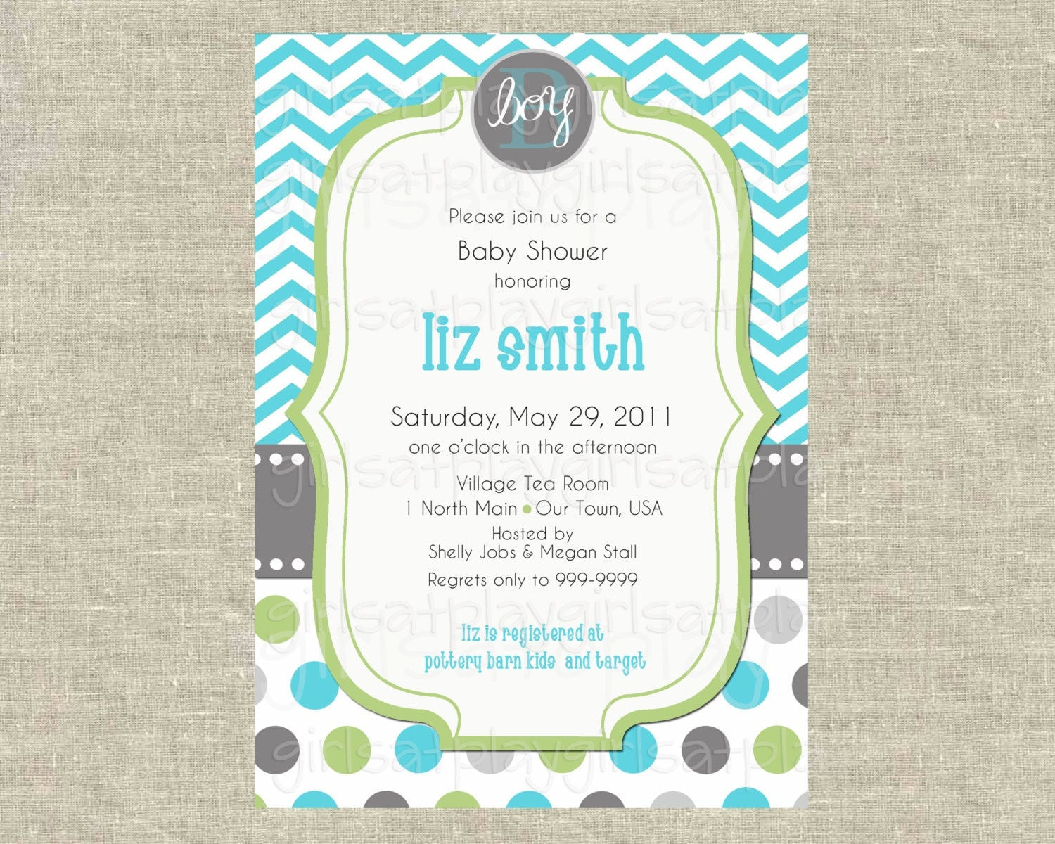 baby boy shower invitation invite modern chevron by girlsatplay
