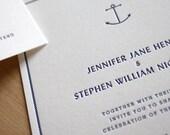 Nautical Letterpress Wedding Invitation - Beach, Traditional, Elegant, Simple, Classic, Custom, Formal, Destination