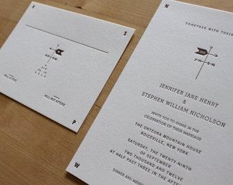 Letterpress Wedding Invitation - Weathervane (Sample Set)