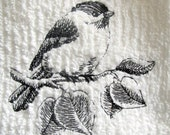 Chick A Dee Bird White Kitchen Towel Black Outlined