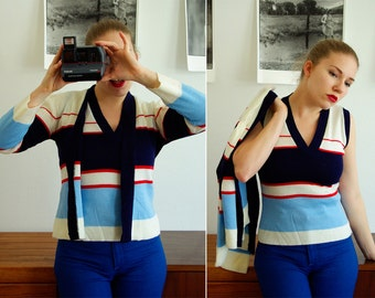Deep BLUE Sea 1970's Vintage DEADSTOCK Striped Cardigan Sweater Set with Tank Top in Navy Blue size Medium Large