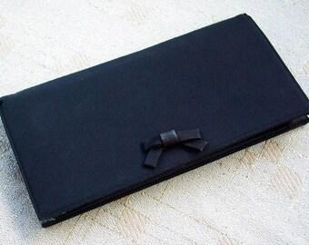 Little BLACK Bow 1950's 60's Vintage Black Handbag Clutch Purse
