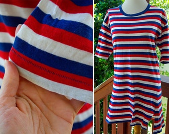 RARE Original 1920's 30's Vintage Red White & Blue Striped Bathing T Shirt with Hand Stitching by WHIRL ABOUT