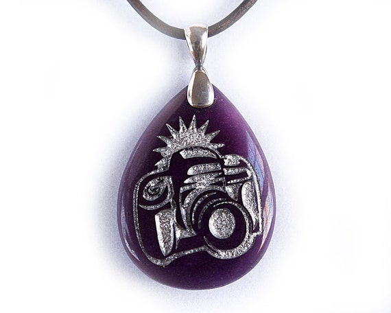 Shutterbug Camera Necklace - Engraved Stone Pendant