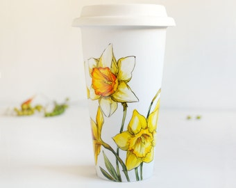White Ceramic Travel Mug - Yellow Daffodils, Botanical Collection