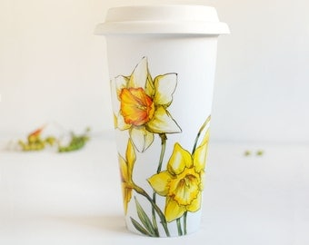 White Ceramic Travel Mug - Yellow Daffodils | Botanical Collection
