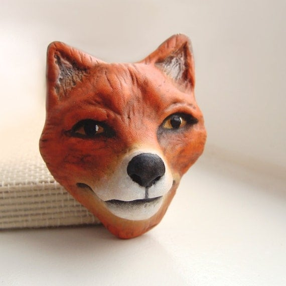Red Fox Art Doll Face Cab Polymer Clay Wild Animal Woodland Forest Nature Creature Cabochon 3016