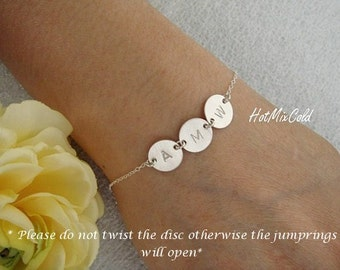 Delicate Monogram Charm Bracelet, Gold Fill Initial Disc, Sterling Silver Mothers Bracelet, Rose Gold Fill Personalized Family Jewelry