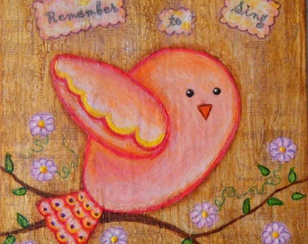 ORIGINAL Art, Birds, Spring, Inspirational Art, Nature Art, Mixed Media Art, 6 x 6, Ready to  Hang