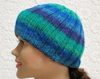 Ribbed beanie hat, blue green amethyst purple, striped hat, skull cap, biker runner hiker, ski snowboard, skateboard, toque, mens womens hat