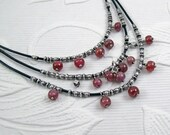 Three Tier Leather and Silver Necklace with Rubies