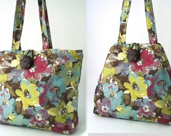 fabric purse, shoulder bag purse, floral Tote Bag, tote with pockets, womens handbag, vegan bag, hobo bag, floral purse